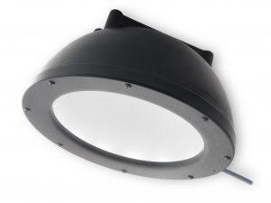 matte black dome light shaped like a hemisphere